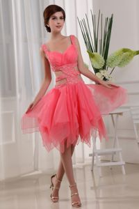 Sexy Backless Watermelon Beauty Pageant Dress with Straps and Beading