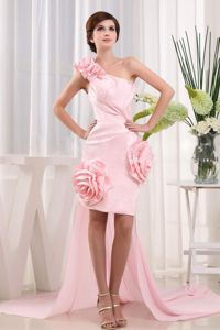 New High-low One Shoulder Baby Pink Youth Pageant Dress with Flowers