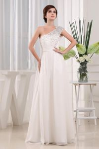 Elegant White One Shoulder Full-length Pageant Dresses For Girls in Kelso
