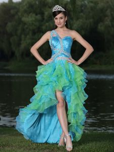 One Shoulder High-low Ruffled Pageant Dresses for Miss USA in Antioquia