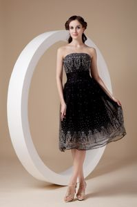 Low price Black A-line Strapless Embroidery Glitz Pageant Dresses in Anza