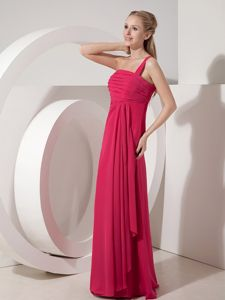 One Shoulder Style Chiffon Glitz Pageant Dresses in Coral Red in Alpine