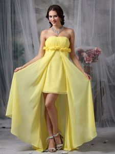 Lovely Column High-low Beauty Pageant Dresses in Yellow in Alleghany