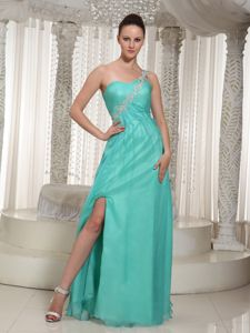 Turquoise High Slit 2013 Youth Pageant Dresses with Appliques in Elfrida