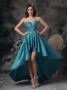 Teal Sweetheart Taffeta Appliqued Pageant Dresses with High-low in Dewey