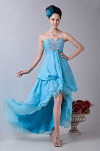 Baby Blue Sweetheart High-low Pageant Dresses for Miss World in Cortaro