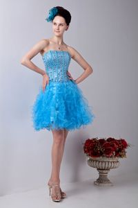 A-line Strapless Pageant Dresses with Beadings for Miss America in Cornville
