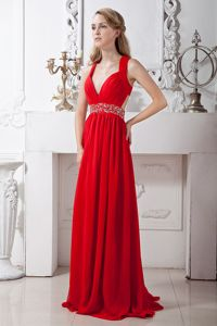 Red V-neck Chiffon Pageant Dresses with Beads for Miss USA in Coolidge