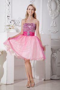 A-line Strapless Beading Knee-length Pink Glitz Pageant Dresses in Claypool