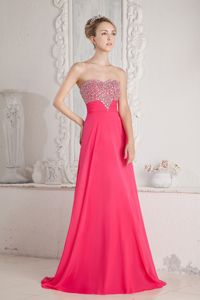 Coral Red Sweetheart Beaded Chiffon Beauty Pageant Dresses in Clarkdale