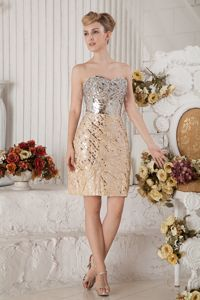 Sweetheart Sequined and Beaded Pageant Dress in Champagne in Chloride