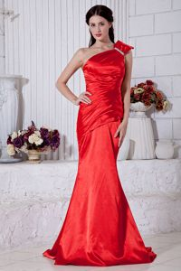 One Shoulder Pageant Dress Patterns with Brush Train in Chandler Heights