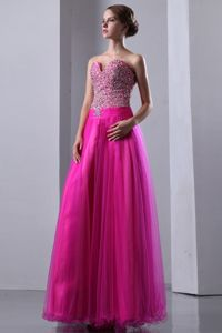 A-line Sweetheart Beaded Fuchsia Dresses for Pageants In Nj in Cave Creek