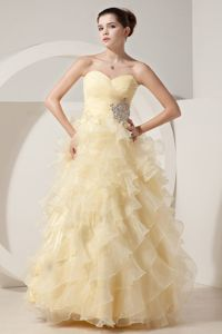 A-line Sweetheart Beaded Light Yellow Interview Pageant Suits in Alpine