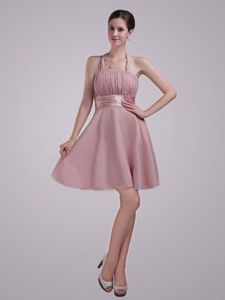 Halter A-Line Chiffon Ruched Pageant Girl Dresses in Pink in Evergreen