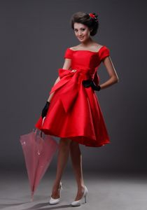 Off The Shoulder Florid Red Pageant Dress with Bowknot from Moab