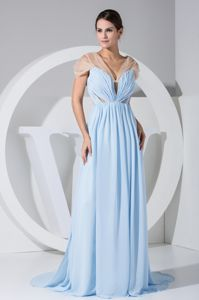 V-neck Side Slit Pageant Dress with Transparent Fabric in Galveston