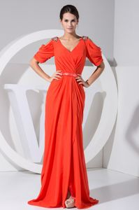 Jeweled Open Sleeves Coral Red Pageant Dress with Slit in Abilene