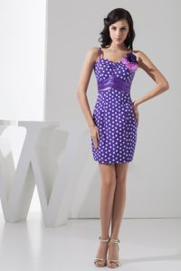 Mini-length Lavender Flowers Pageant Dress with Polka Dot in Moab