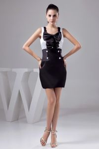 Square Black and White Pageant Dress with Button Bowknot in Waco