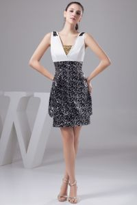 Elegant Black and White Pageant Dress with Beading from Galveston