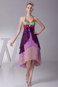 Tiers Back Out Asymmetrical Colorful Pageant Dress Halter Top in Tyler
