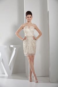 Sheer Neck Champagne Scoop Pageant Dress with Lace in Warwick