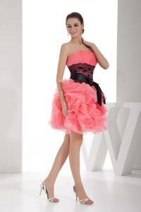 Strapless Watermelon Knee-length Pageant Dress with Sash in Tulsa