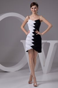 White Black Spaghetti Straps Pageant Dress with Asymmetrical in Kent