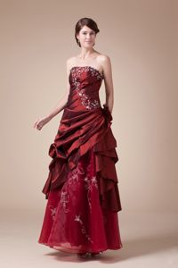 Wine Red Strapless Embroidery Pageant Dress in A-line from Athens