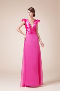 V-neck Sheath Long Interview Pageant Suits with Cap Sleeves in Taos