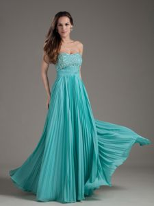 Turquoise Empire Strapless Pageant Dress in Beading from Dayton