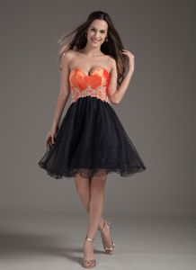 Organza Appliqued Pageant Dress in Red and Black from Stillwater