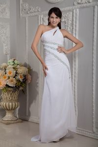 White Column One Shoulder Beaded Pageant Dress in Chiffon in Reno