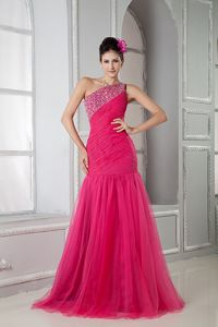 Coral Red Mermaid One Shoulder Pageant Dress in Tulle from Detroit