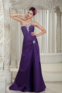 Purple Column Strapless Satin Pageant Dress with Appliques in Boston