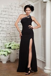 Beaded Black Empire One Shoulder Pageant Dress in Chiffon in Acton