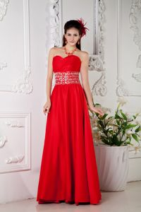 Elegant Red Empire Sweetheart Beaded Pageant Dress in Satin in Ames