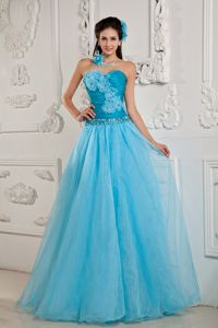A-line Sweetheart Teal Popular Chiffon Pageant Dress in Beading in Hilo