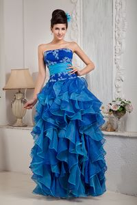 Strapless Organza Blue Empire Pageant Dress with Appliques from Lisle