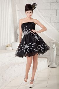 Strapless A-line Organza Beaded Pageant Dress in Black from Warren