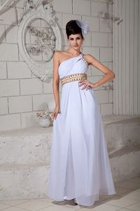 Chiffon White Empire One Shoulder Pageant Dress with Ruches in Kihei