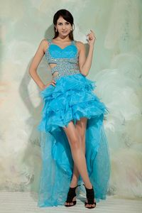 High-low Sky Blue Princess Straps Pageant Dress in Organza in Holland