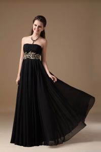 Chiffon Beaded Black Empire Pageant Dress with Strapless from Detroit