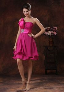 One Shoulder Pageant Dresses for Miss World in Fuchsia from Boston