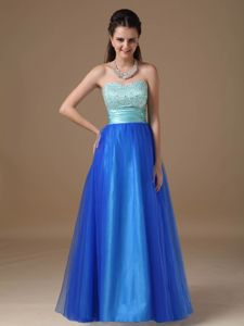 Apple Green Royal Blue Strapless Pageant Dress in Taffeta Tulle in Hilo