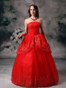 Floor-length Red Ball Gown Strapless Pageant Dress in Sequin in Lisle