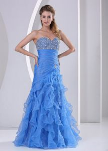 Ruffled Light Blue Celebrity Pageant Dress with Beading Ruches in Vista