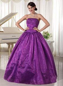 Taffeta and Organza Purple Beaded Pageant Dress with Strapless in Storrs