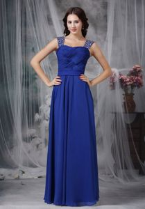Beaded and Ruched Royal Blue Straps Pageant Dress in Chiffon in Dover